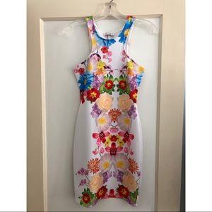 Solemio Floral High-Neck Bodycon Dress S